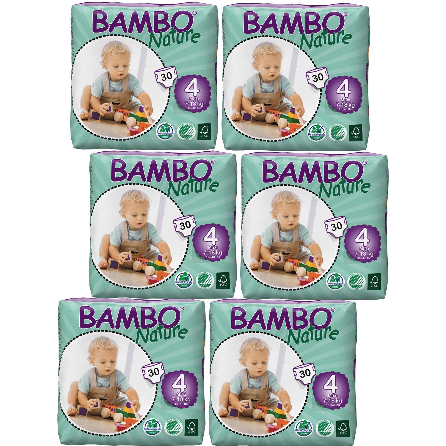 Bambo Nature Baby Diapers Classic, Size 4 (15-40 lbs), 360 Count (2 Cases of 180)