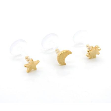Triple Moon Earrings (Bioflex Celestial Sun Moon Star 16G 1/4