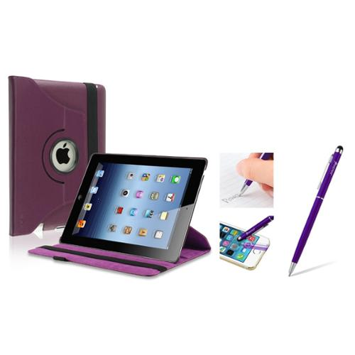 Insten Purple 360 Swivel Rotating Leather Case w/ Sleep Mode + 2in1 Stylus with Ballpoint Pen For Apple New iPad 3 / 2