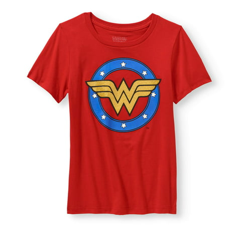 Glitter Wonder Woman Logo Graphic T-Shirt (Little Girls & Big - Wonder Woman T Shirt With Cape Xxl