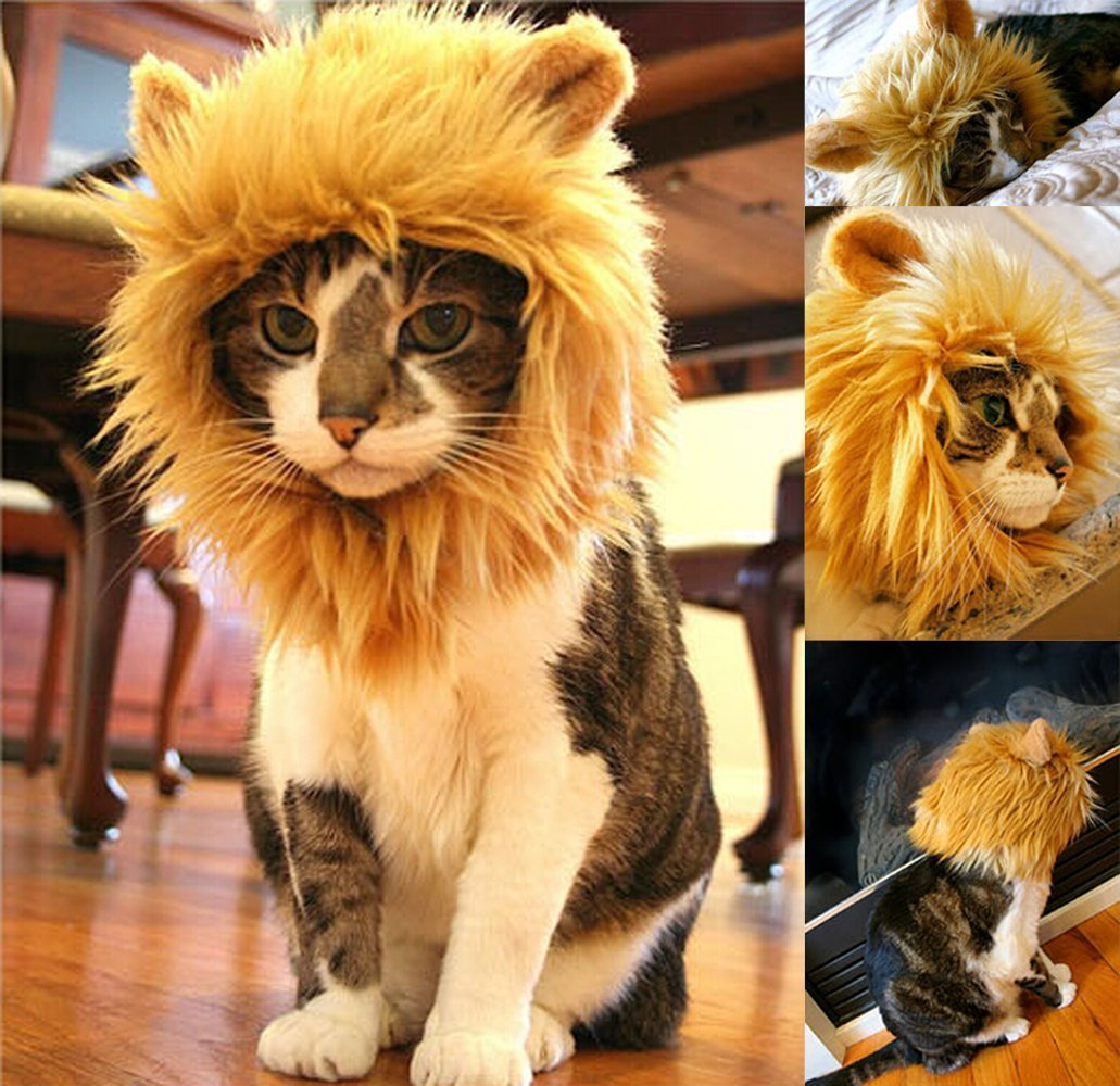Lion Mane Wig Costume for Cat Halloween Dress with Ears Pet Festival Party Fancy Hair Cat Clothes