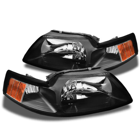 Fits 99-04 Mustang Amber Black Bezel Factory Style Headlights Headlamps Pair (Mustang Headlight Bezel)