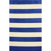 Nuloom  Hand-tufted Wide Stripes Blue New Zealand Wool Rug (5' x 8')