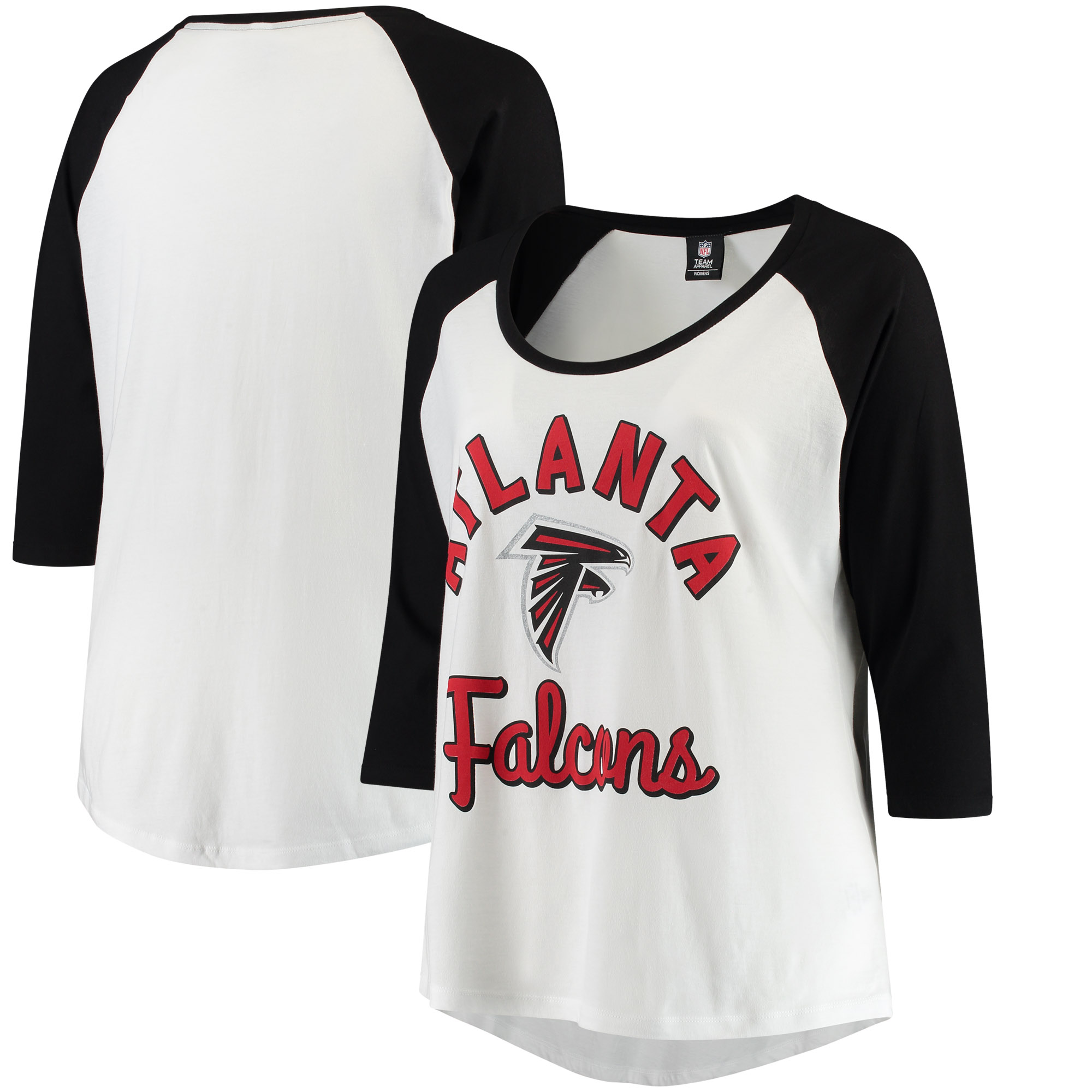 Atlanta Falcons 5th & Ocean by New Era Women's Plus Size 3/4-Sleeve Raglan T-Shirt - White/Black