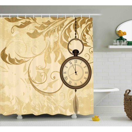 Clock Decor Shower Curtain A Vintage Grungy Background Design With Pocket Watches On Chain Romantic Art Print Fabric Bathroom Set Hooks
