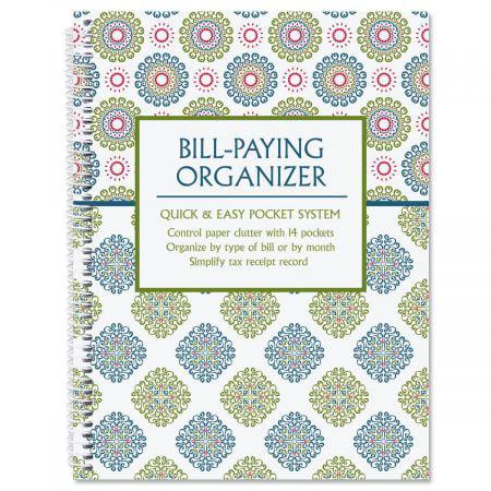 "Fresh Patterns Bill Paying Organizer Book, 9"" x 12"", 14 pocket pages"