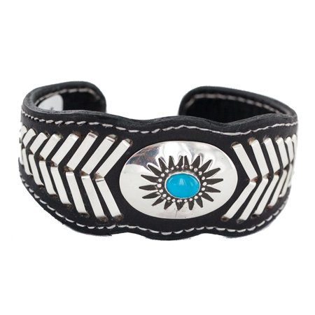 Rare $400 Retail Tag Authentic .925 Sterling Silver Navajo Handmade Made by Frank Armstrong Natural Turquoise Native American Leather Bracelet