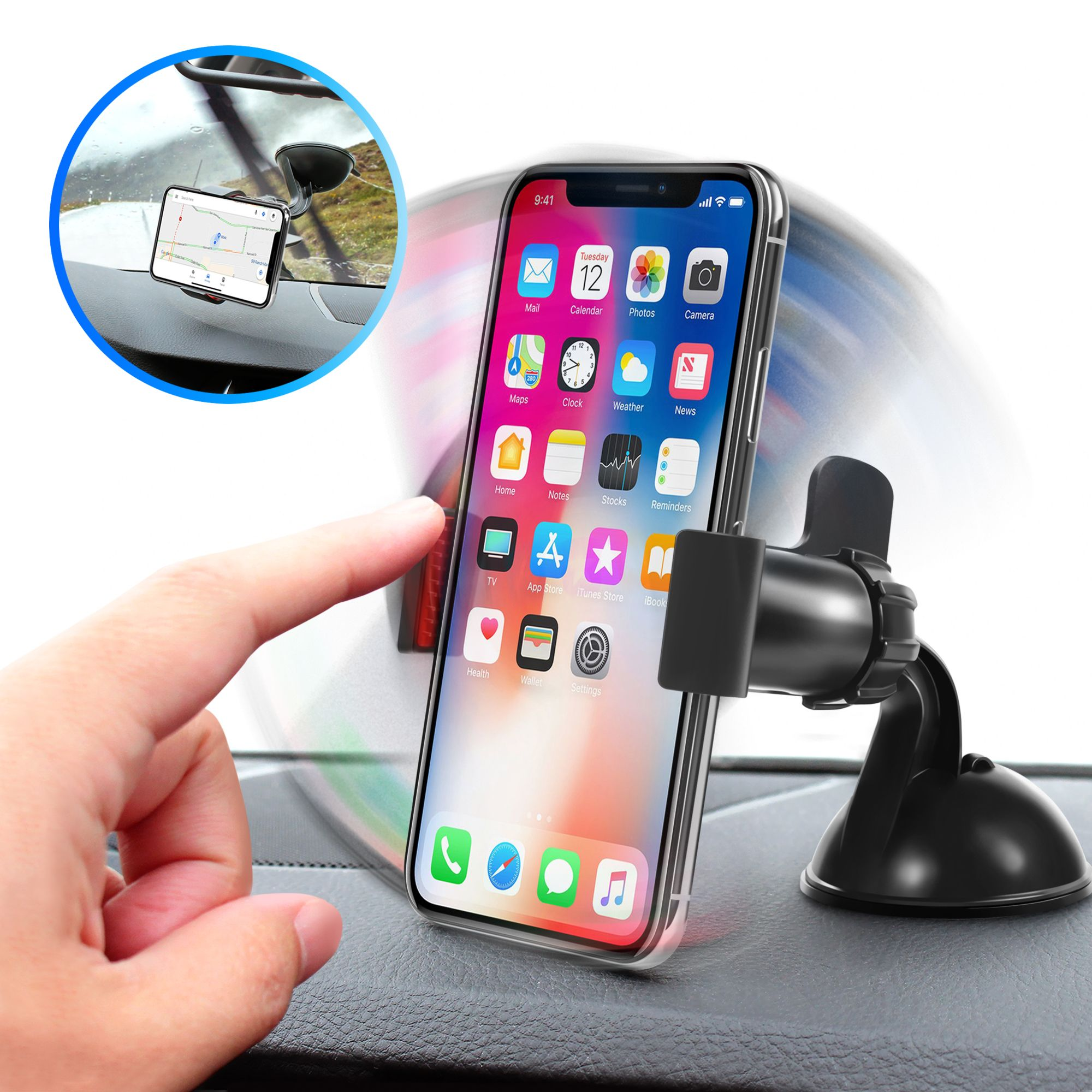 Black Cup Car Phone Holder Marrrch Car Phone Mount,360 Degree Cell Phone Car Mount Compatible for iPhone XR Xs Max Xs X 8 7 6,Samsung Galaxy S10 S10+ S10e S9 Adjustable Distance