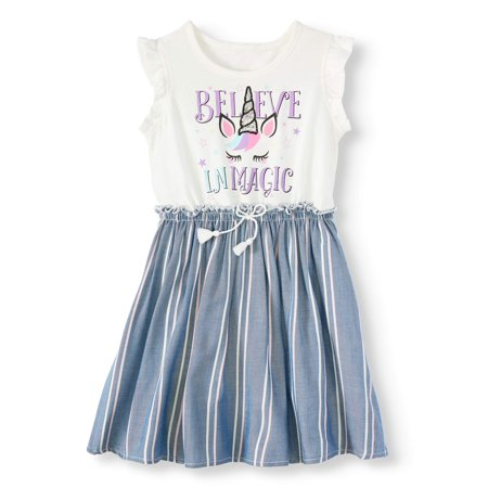 Forever Me Unicorn Striped Dress (Toddler Girls)