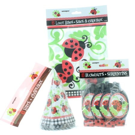 8 Kid Ladybug Party Favor Kit Hats Blowouts Loot Bags Birthday Ladybug Fun Set - Lady Bug Party