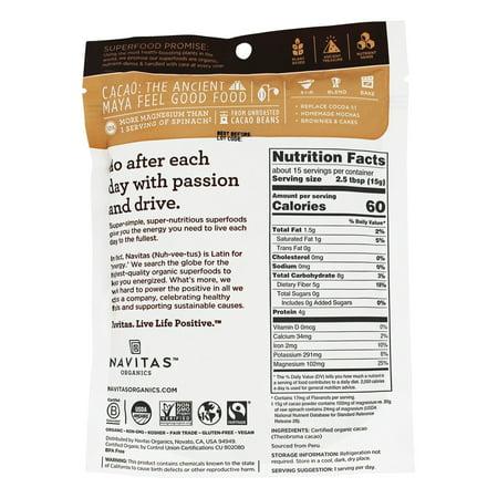 Navitas Naturals Cacao Powder, 8.0 Oz, 15 Servings