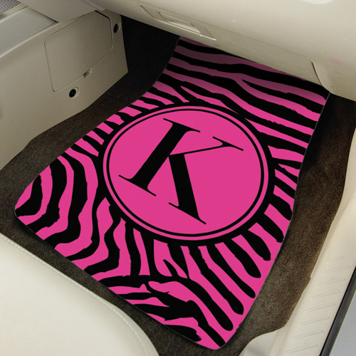 Personalized Initial Zebra Car Mats, Pink
