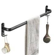 23'' Aluminum Black Hanging Towel Rack, 1/2 Tier Wall Mount Fixed Double Towel Bar Storage Holder ,With 2PCS Hooks Wall Shelf Bathroom Accessories Home Improvement