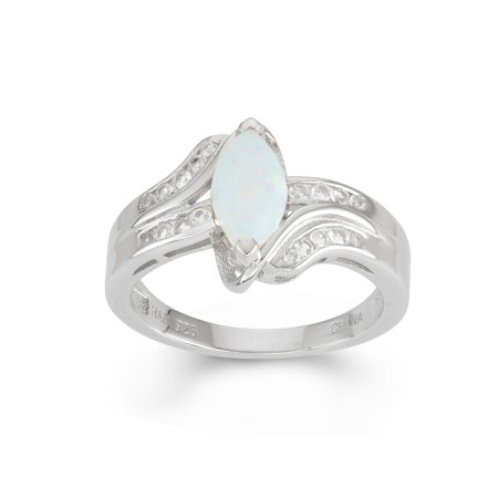 Created Opal and Created White Sapphire Sterling Silver Bypass -
