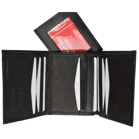 Black Lamb Leather - Trifold Lamb Leather Wallet W/Removable ID attached W/Velcro 3255 (C) Black