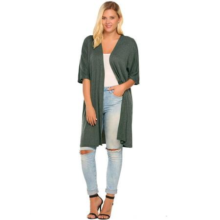5c14989e116 Women Plus Size Casual Half Sleeve Solid Sweater Open Front Cardigan HFON