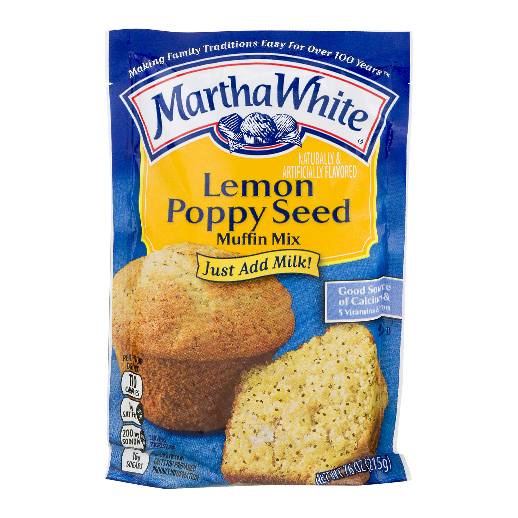 Martha White Lemon Poppy Seed Muffin Mix, 7.6 OZ