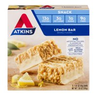 Atkins Gluten Free Snack Bar, Lemon Bar, Keto Friendly, 5 Count