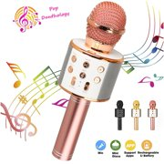 TSV Wireless 4 in 1 Bluetooth Karaoke Microphone, Handheld Portable Karaoke Machine Speaker , Home KTV Player with Record Function, Compatible with Android & iOS Devices (Rose Gold/ Black / Gold)
