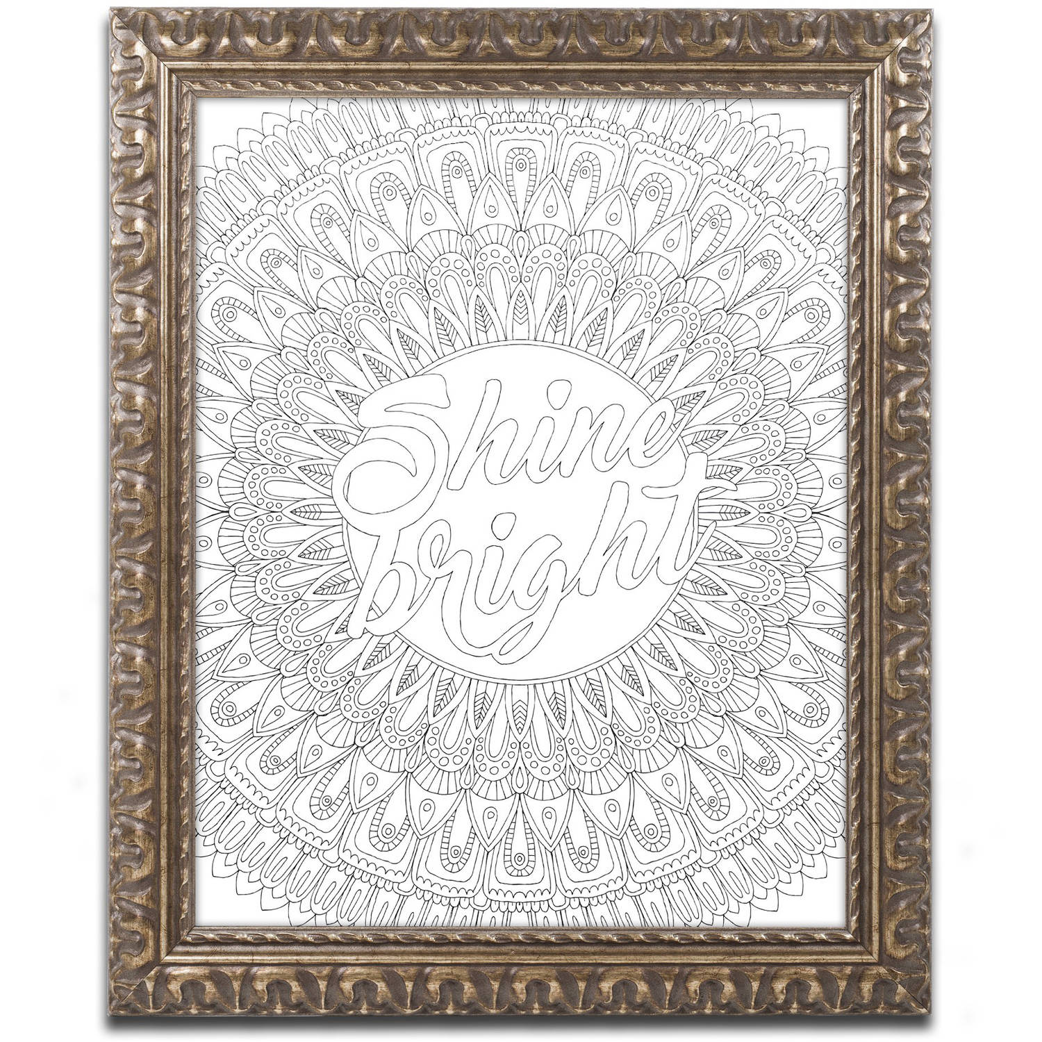 """Trademark Fine Art """"Inspirational Quotes 10"""" Canvas Art by Hello Angel, Gold Ornate Frame"""