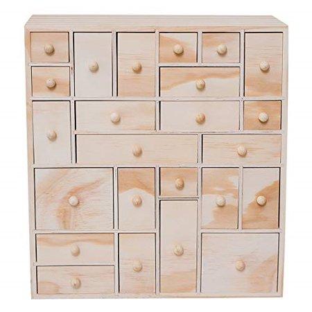 Hyggehaus Wooden Storage Organizer 24 Drawer Craft Apothecary Cabinet Desktop Hardware Diy Product Unfinished