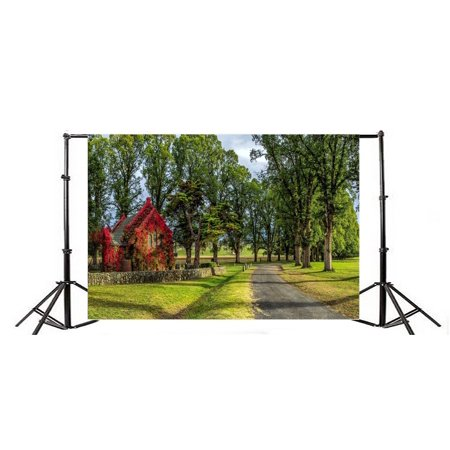 XDDJA Polyester Fabric 7x5ft Spring Backdrop Outdoor Nature Forest Trees Wood House Green Grass Lawn Dirt Road Blue Sky Sunshine Travel Photography Background Kids Children Adults Photo Studio Props - image 2 of 3