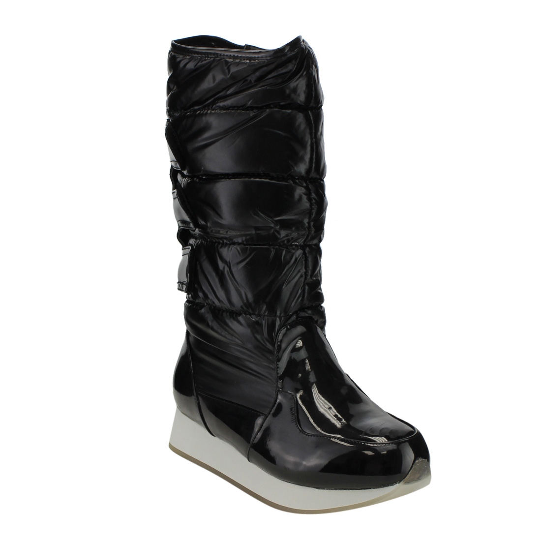 Chase & Chloe ED68 Women's Stitching Under Knee High Low Heel Snow Boots by