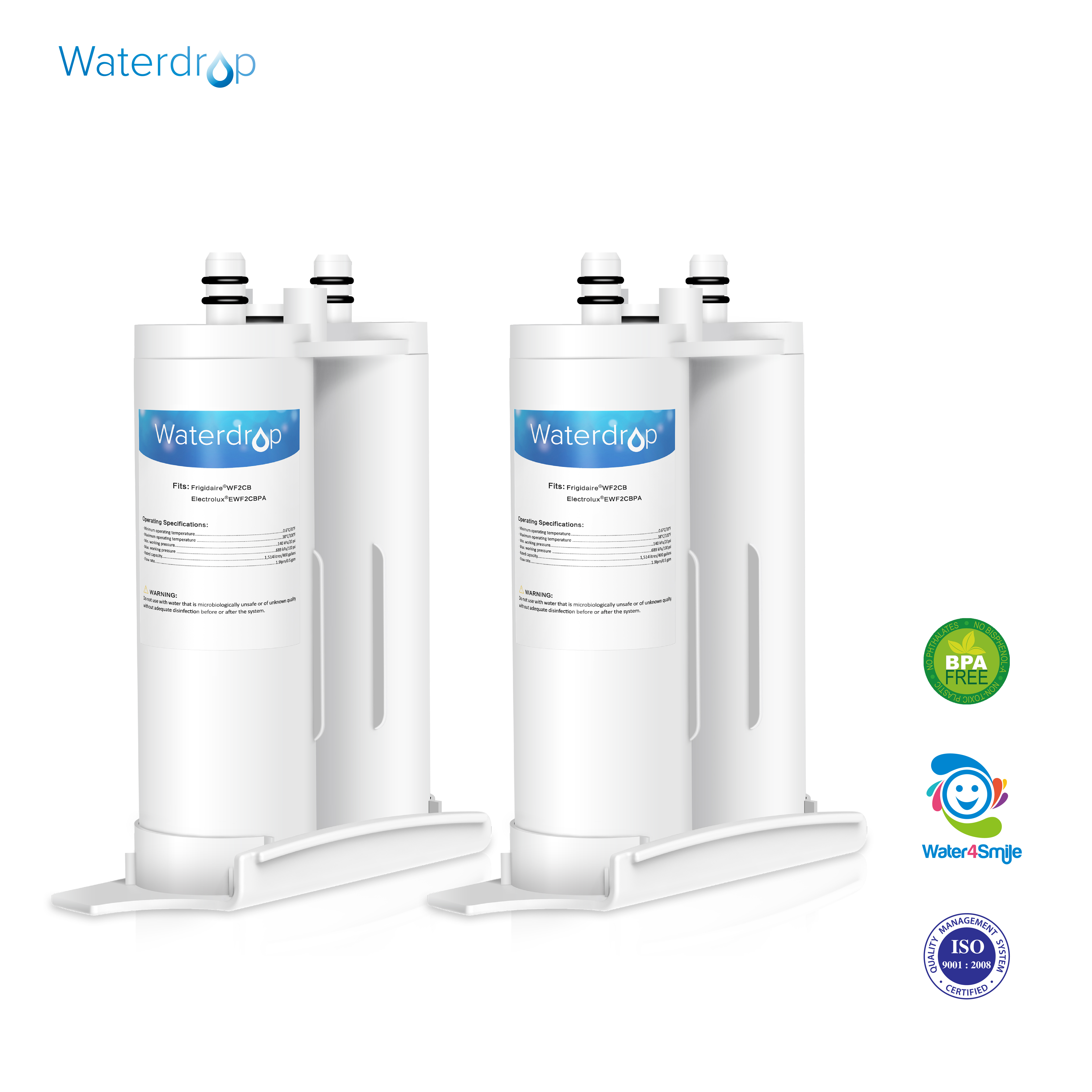 2 Pack Waterdrop WF2CB Replacement for Frigidaire PureSource2 WF2CB Water Filter by Ecolife Technologies