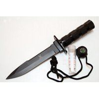 """The Bone EdgeS tainless Steel Blade 10.5"""" Survival Knife With Sheath & Compass"""