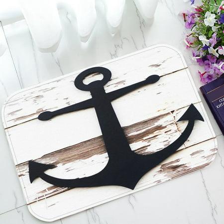 GCKG Anchor On Faux Wood Non-Slip Doormat Indoor/Outdoor/Bathroom Doormat 23.6 x 15.7 Inches