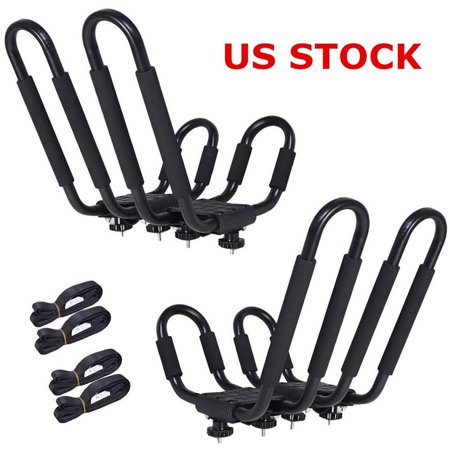 Universal 2 pairs Black J-Bar Kayak Roof Rack Carrier Canoe Boat Surf Ski Roof Top Mount Car SUV Crossbar US Stock (Ship in 1 Business Day) ()