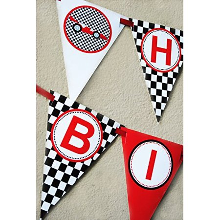Race Car Birthday Banner Pennant - Race Car Birthday