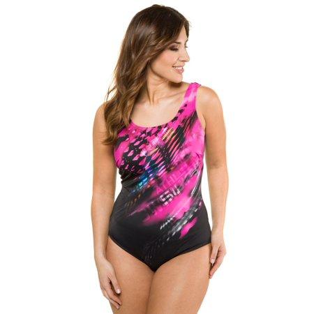 641c87bb6aa Ulla Popken Women's Plus Size Neon Tie Dye Print Swimsuit 715796 ...