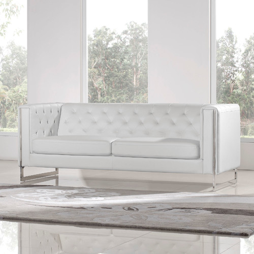 Diamond Sofa Chelsea Leatherette Sofa White by Diamond Sofa