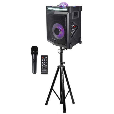 vocopro lightshow magic bluetooth karaoke machine system w led 39 s stand mic. Black Bedroom Furniture Sets. Home Design Ideas