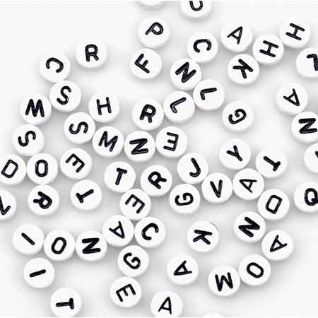 400 White Alphabet Letter Beads 6.5mm Acrylic Jewellery Making - Letter Beads