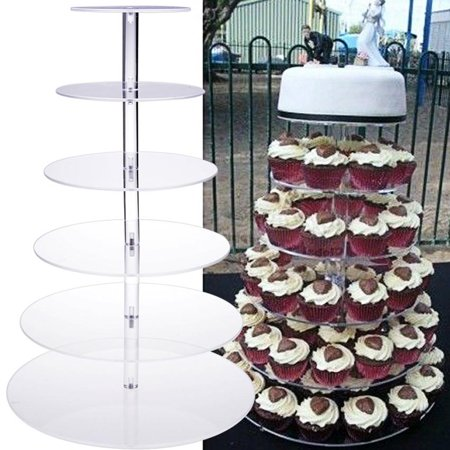 Round Acrylic Cupcake Tower Stand Wedding Birthday Display 6 Tier