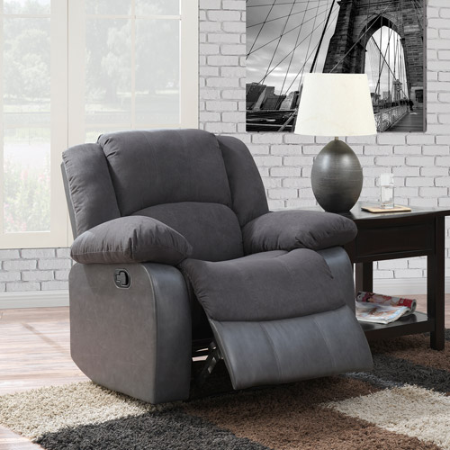 microfiber living room furniture dorel home spencer microfiber and faux leather recliner 14726