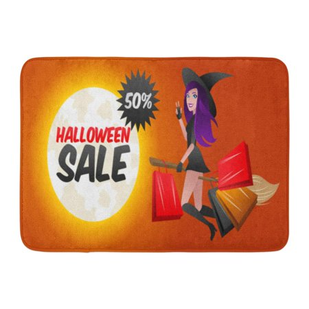 GODPOK Cartoon White Boutique Sexy Witch Flying on Halloween Broom with Purchases and Gifts from Store Sale Buy Rug Doormat Bath Mat 23.6x15.7 inch](Halloween Store Commerce)