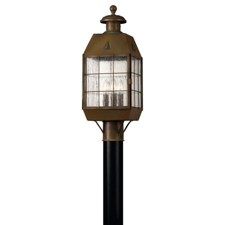 Nantucket 3-Light Post Mount in Aged Brass