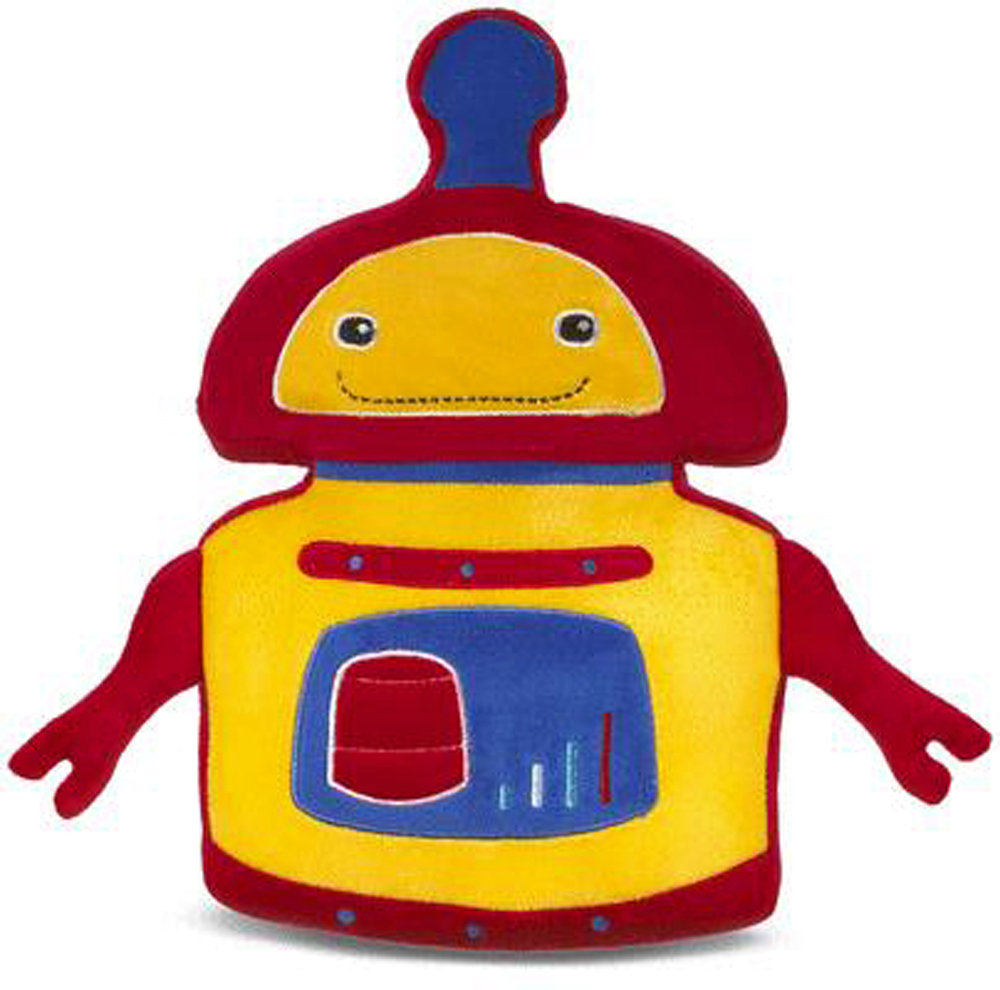 Red Yellow and Blue Soft Robot Pillow - By Ganz