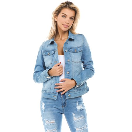 Long Boyfriend Jacket (Women's Juniors Boyfriend Premium Denim Jackets Long Sleeve Jean Coats)