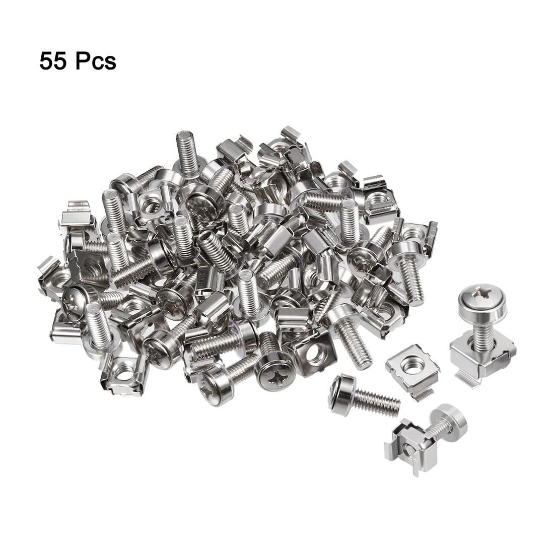 Unique Bargains 55pcs M5x20mm Carbon Steel Screws and Cage Nuts for Server Rack Cabinet - image 2 de 4