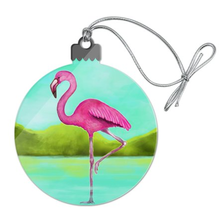 (Pink Flamingo in Water Acrylic Christmas Tree Holiday Ornament)