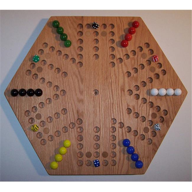 Charlies Woodshop W-1936alt.-1 Wooden Marble Game Board - Red Oak with 12 Birch Inlaid Spots