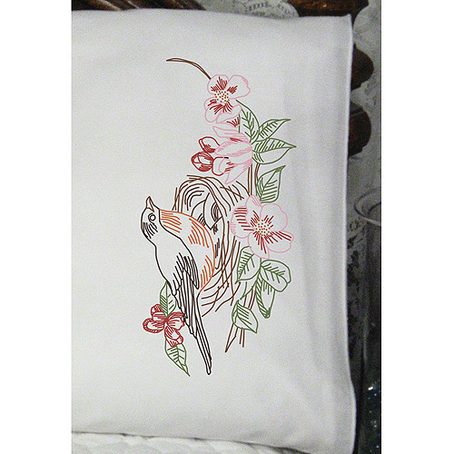 "Fairway Needlecraft Robin Nest Stamped Perle Edge Pillowcase Pair, 30"" x 20"""