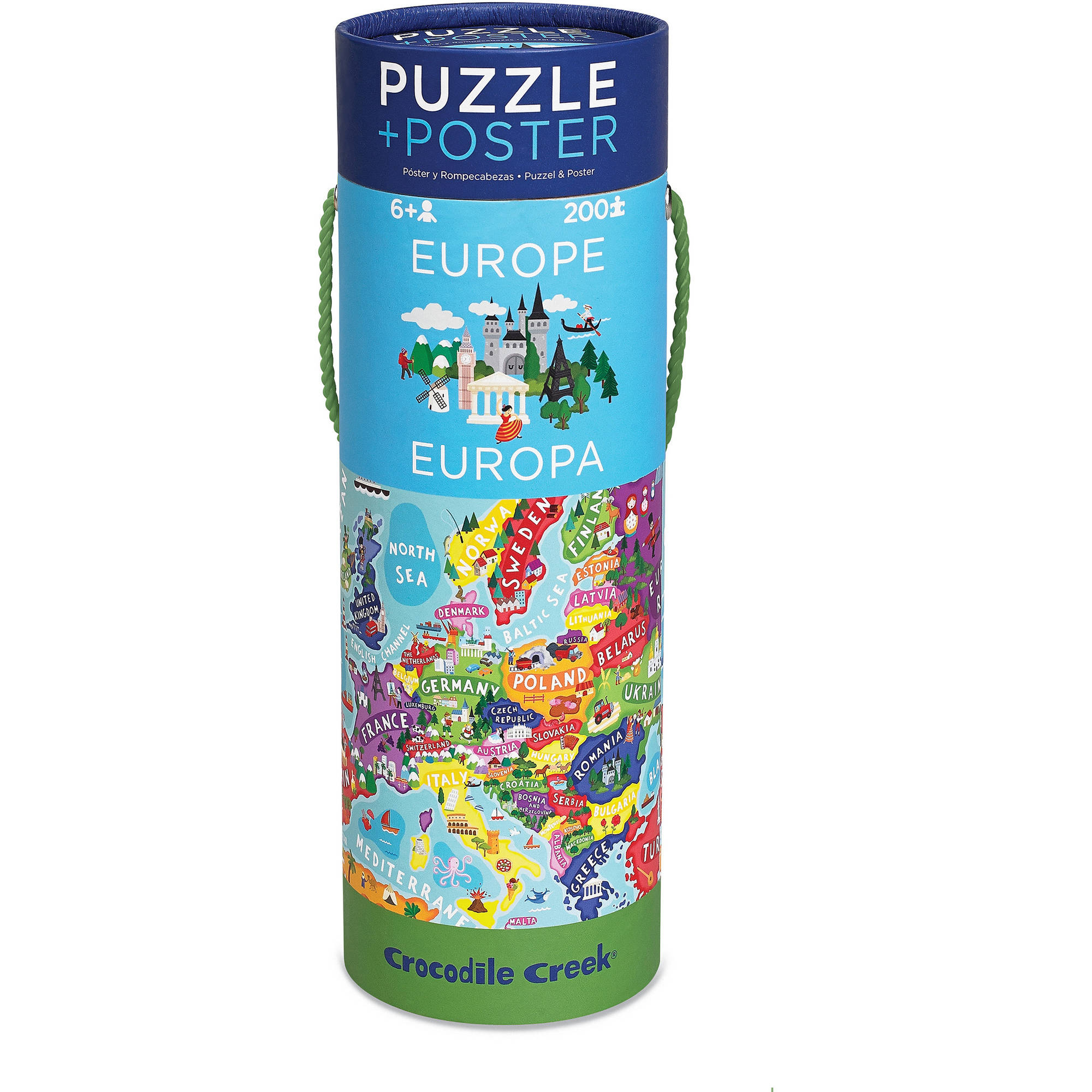 Crocodile Creek Europe Map 200-Piece Jigsaw Puzzle and Matching Poster