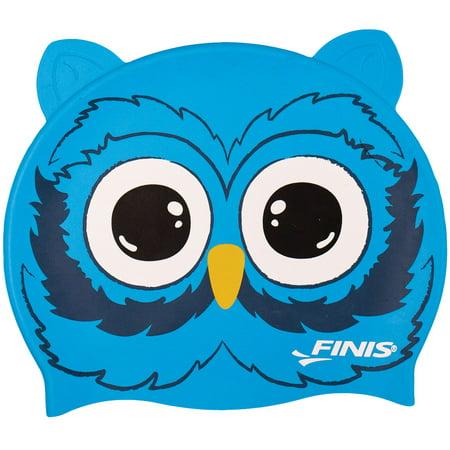 FINIS Animal Heads Kids Swim Cap In Owl, One Size ()