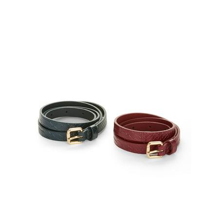 LPLP Linea Pelle Snakeskin Women's Belt 2-Pack (Linea Pelle Belted Belt)