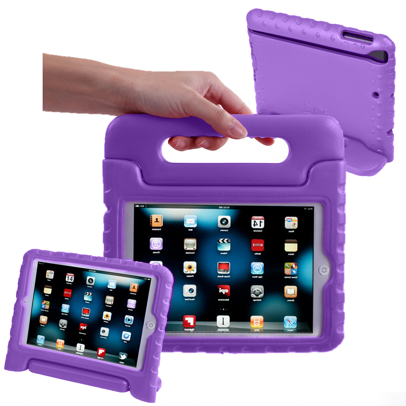HDE iPad Mini 2 3 Case for Kids - Rugged Heavy Duty Drop Proof Children Toy Protective Shockproof Cover Handle Stand for Apple iPad Mini 1 2 3 Retina (Purple)